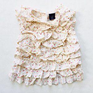 Baby Gap Super Ruffled Floral Short Sleeve Blouse